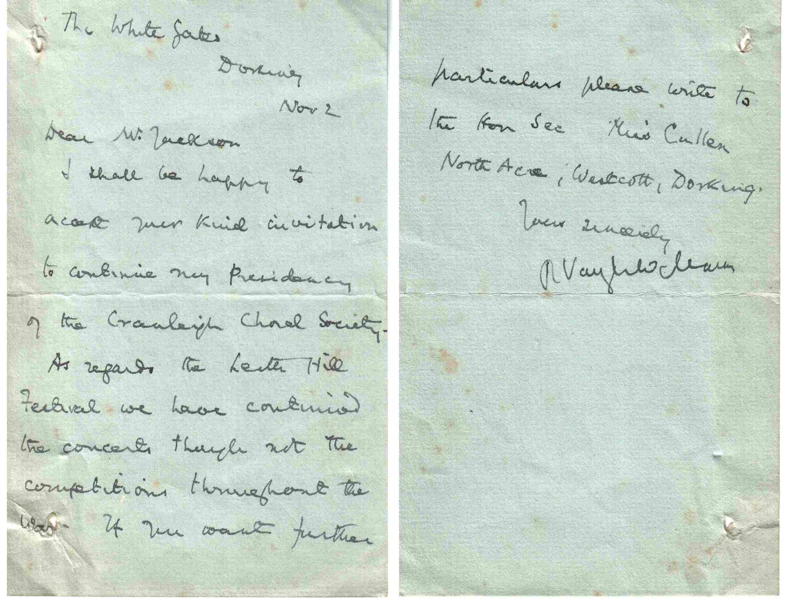 vaughan-williams letter